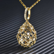 Wiley Hart 14K Gold or Sterling Silver Women's Hollow Pear Shape Pendant Necklace with Round White Sapphire Stone