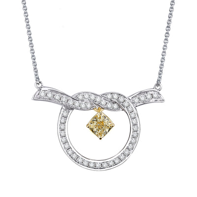 Wiley Hart 14K White Gold or Sterling Silver Women's Personalize Twisted Knot Necklace with Drop Radiant Yellow Sapphire Stone