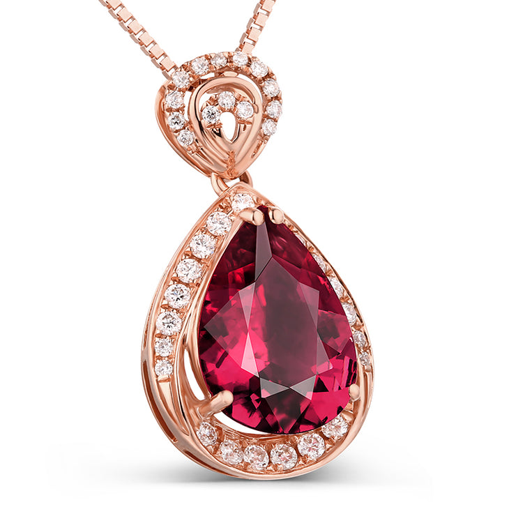Wiley Hart 14K Rose Gold or Sterling Silver Women's Romantic Pear Wedding Engagement Necklace with Red Sapphire Stone