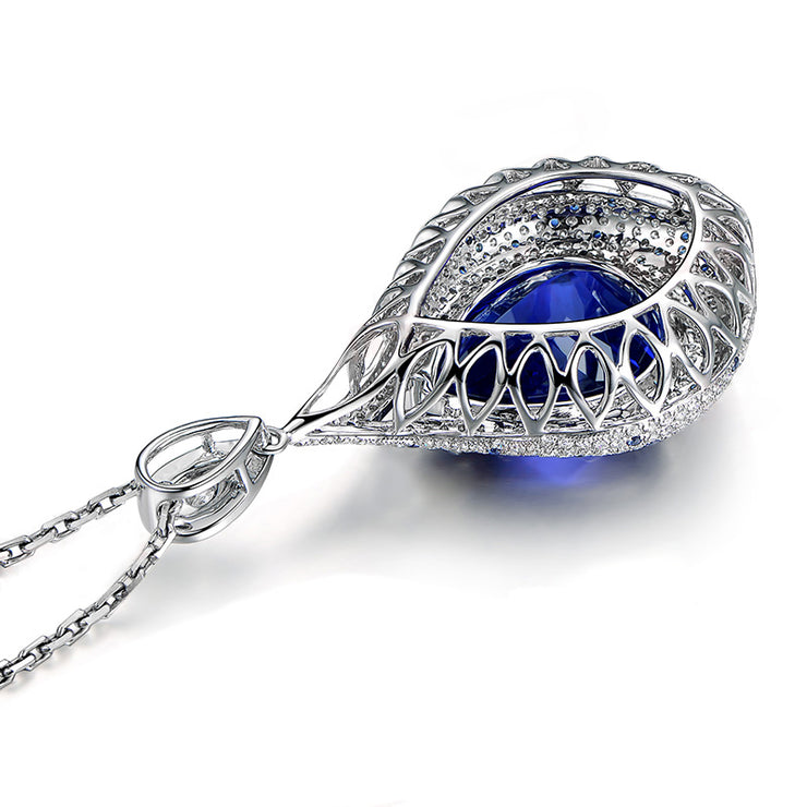 Wiley Hart 14K White Gold or Sterling Silver Women's Pear Shape Necklace with Blue Sapphire Stone Personalized Customized Jewelry