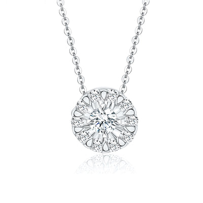 Customize Jewelry Wiley Hart 14K  White Gold or Sterling Silver Women's Round Necklace with White Sapphire Stone