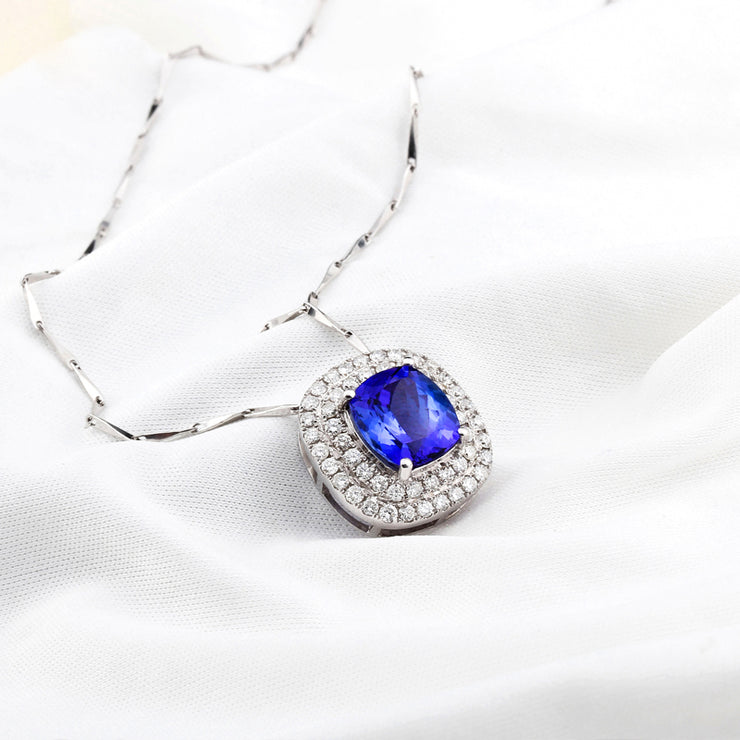 Wiley Hart 14K White Gold or Sterling Silver Women's Double Halo Engagement Necklace with Round Blue Sapphire Stone