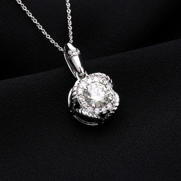 Designer Fashion Jewelry 14K  White Gold or Sterling Silver Women's Halo Crystal Necklace with Round White Sapphire Stone