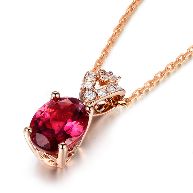 Wiley Hart Rose Gold Plated Red Sapphire Crystal Pendant Necklace Oval Gemstone Birthstone with 20 Inch Silver Chain 14K Rose Gold or Sterling Silver