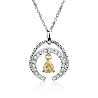 Wiley Hart 14K White Gold or Sterling Silver Women's Round Engagement Necklace with Drop Pear Yellow Sapphire Stone
