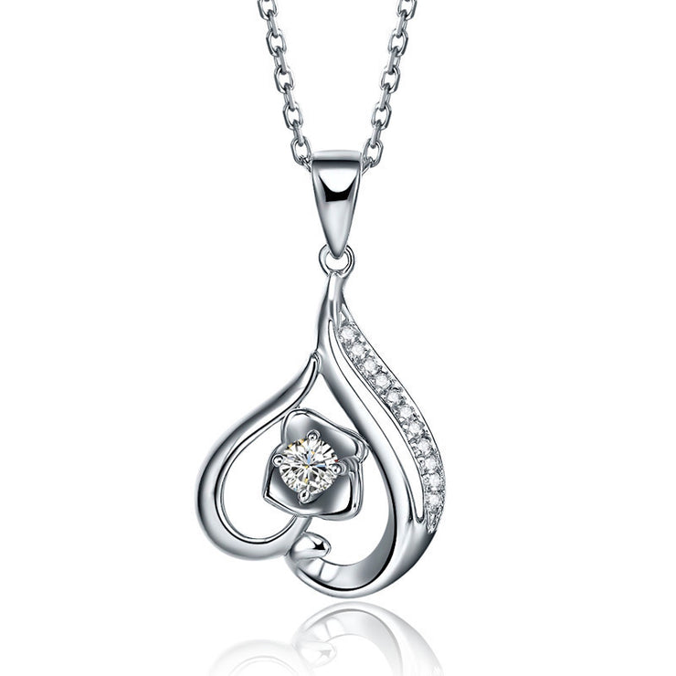 Wiley Hart Engraving 14K White Gold or Sterling Silver Women's Heart Necklace with Round White Sapphire Stone