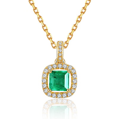 Wiley Hart 14K Gold or Sterling Silver Women's Princess Cut Square Sparkling Halo Wedding Anniversary Necklace with Green Sapphire Stone