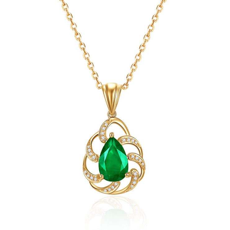Wiley Hart 14K Gold or Sterling Silver Women's Fashion Pear Shape Engagement Necklace with Green Sapphire Stone