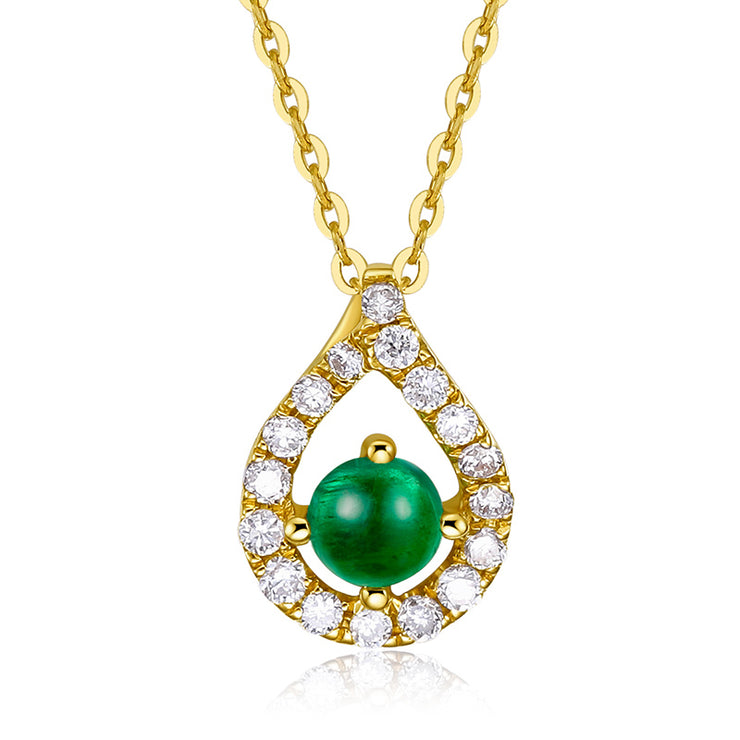 Wiley Hart 14K Gold or Sterling Silver Women's Teardrop Halo Pendant Necklace with Round Green Sapphire Stone