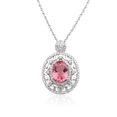 Wiley Hart 14K White Gold or Sterling Silver Women's Oval Brilliant Necklace with Pink Sapphire Stone