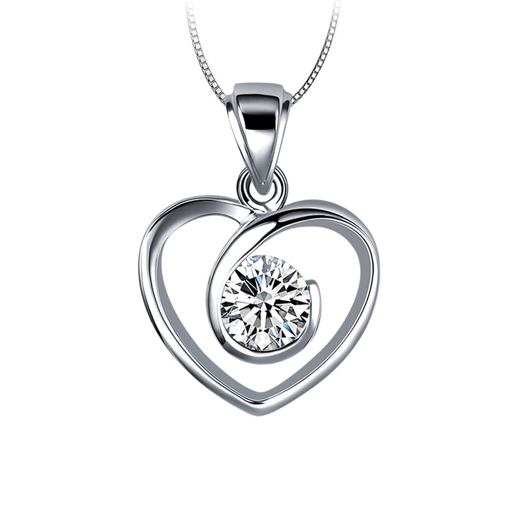 "Wiley Hart 14K White Gold or Sterling Silver Women's Love Heart Necklace with White Round Sapphire Stone 20"" Chain"