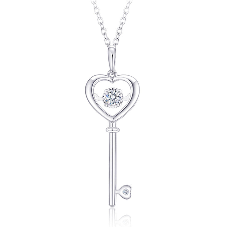 Wiley Hart Round Lab Created Sapphire Heart Lock and Key Necklace Wedding Bridal Necklace Key to My Heart Necklace Heart and Key Necklace