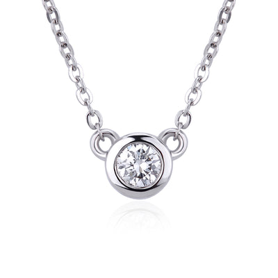 Cute Animal Fine Jewelry 14K  White Gold or Sterling Silver Women's Drop Round Necklace with White Sapphire Stone with 20 Inches Chain
