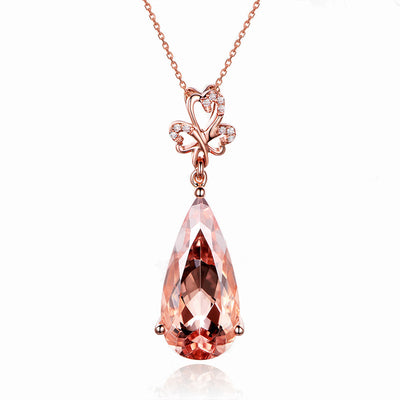 Wiley Hart 14K Rose Gold or Sterling Silver Women's Long Drop Pear Shape Engagement Necklace with Brown Sapphire Stone
