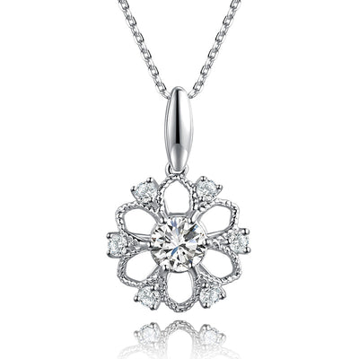 Wiley Hart 14K White Gold or Sterling Silver Women's Sunflower Petals Birthstone Necklace with Round White Sapphire Stone