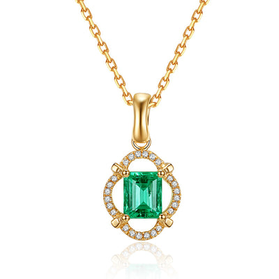 Best Selling Jewelry 14K Gold or Sterling Silver Women's Emerald Cut Anniversary Engagement Pendant Necklace with Green Sapphire Stone Wiley Hart