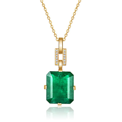 Wiley Hart 14K Gold or Sterling Silver Women's Emerald Cut Vintage Engagement Necklace with Green Sapphire Stone