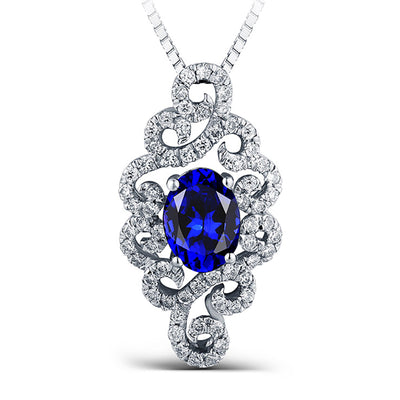 Women Fine Jewelry 14K White Gold or Sterling Silver Women's Elegant Handmade Engagement Pendant Necklace with Oval Blue Sapphire Stone Wiley Hart