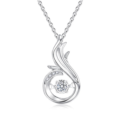 Simple Design High Polishing 14K White Gold or Sterling Silver Women's Elegant Engagement Necklace with Round White Sapphire Stone Wiley Hart