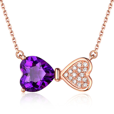 Wiley Hart Ribbon Bow Stud Pendant Necklace with Heart Cut Purple Sapphire Stone in 14K Rose Gold or Sterling Silver