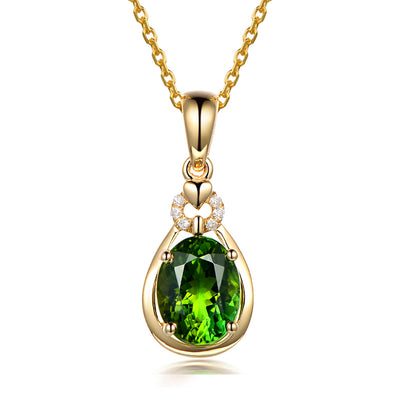 Wiley Hart 14K Gold or Sterling Silver Women's Oval Cut Necklace with Green Sapphire Stone