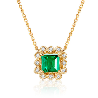 Wiley Hart 14K Gold or Sterling Silver Women's Princess Cut Engagement Necklace with Green Sapphire Stone with 20 Inches Silver Chain