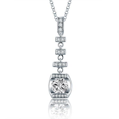 Customize Jewelry 14K White Gold or Sterling Silver Women's Long Drop Engagement Necklace with Round White Sapphire Stone  Wiley Hart