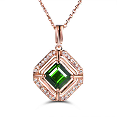 Wiley Hart Personalized Customized Jewelry Square Halo Engagement Vintage Pendant Necklace with Green Sapphire Stone in 14K Rose Gold or Sterling Silver