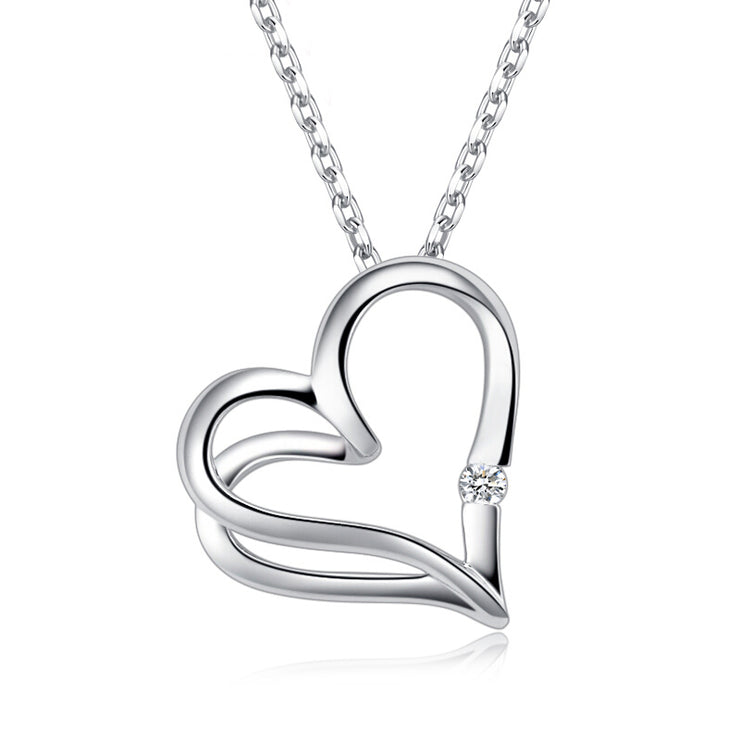 Wiley Hart 14K White Gold or Sterling Silver Women's Double Heart Stud Pendant Necklace with Round White Sapphire Stone