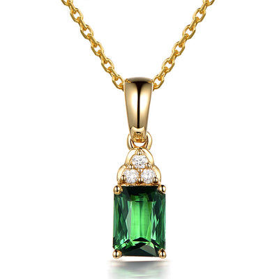 Wiley Hart 14K Gold or Sterling Silver Women's Emerald Cut Drop Necklace with Green Sapphire Stone