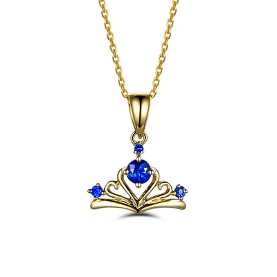 Wiley Hart 14K Gold or Sterling Silver Women's 0.3 Ct Crown Engagement Necklace with Round Blue Sapphire Stone
