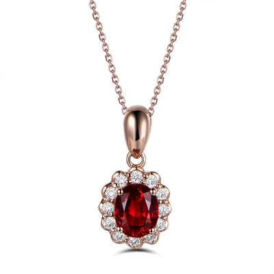 Wiley Hart Fine Jewelry Women Fashion Engagement Pendant Necklace Oval Red Sapphire Pendant Necklace in 14K Rose Gold or Sterling Silver