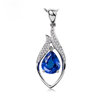 Customized Jewelry 14K  White Gold or Sterling Silver Women's Teardrop Necklace with Blue Sapphire Stone Wiley Hart