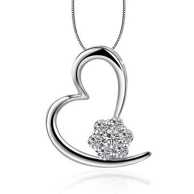 Fine Jewelry Gifts Women Heart Necklace 14K  White Gold or Sterling Silver Pendant with White Sapphire Stone Birthday Gift Anniversary Gifts Wiley Hart