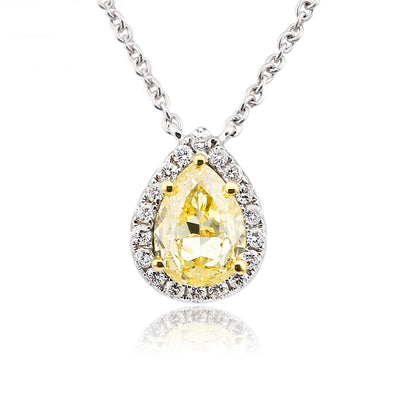 Halo Teardrop Pear Shape Necklace 14K  White Gold or Sterling Silver Pendant Necklace 20 Inches with Yellow Sapphire Stone