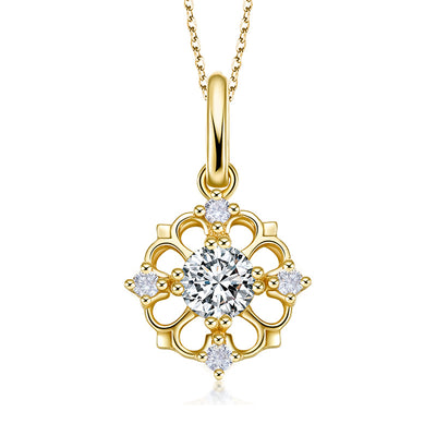 Wiley Hart 14K Gold or Sterling Silver Women's Elegant fashion Petals Pendant Necklace  Clavicle Chain with Round White Sapphire Stone