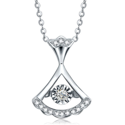 Personalized Customized Fine Jewelry 14K  White Gold or Sterling Silver Women's Fan-shaped Necklace with Round White Sapphire Stone Wiley Hart