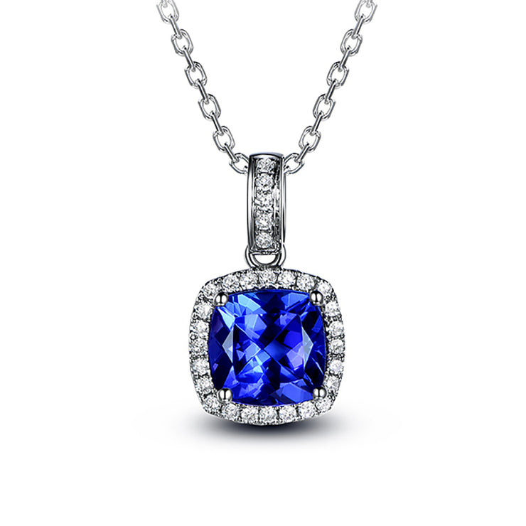 Wiley Hart Personalized Customized Jewelry 14K White Gold or Sterling Silver Women's Asscher Necklace with Blue Sapphire Stone