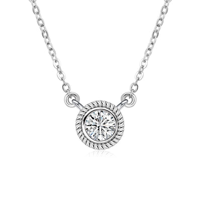 Wiley Hart 14K White Gold or Sterling Silver Women's Cute Round Engagement Necklace with White Sapphire Stone
