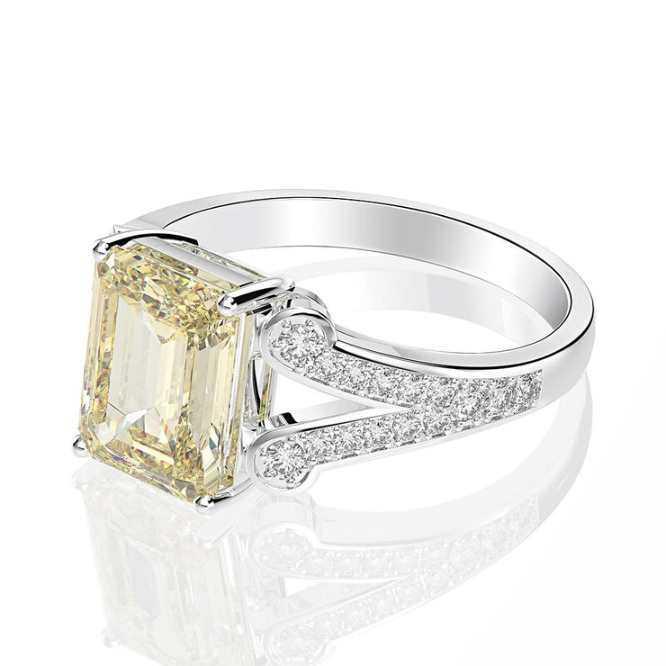 Split Shank Double Prong Emerald Cut 2.55Carats White Lab Created Sapphire Engagement Ring White Gold or Silver Wiley Hart