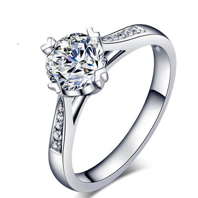 White Sapphire Round Cut Four Claws Ring Forever One Engagement Ring White Gold or Silver Wiley Hart