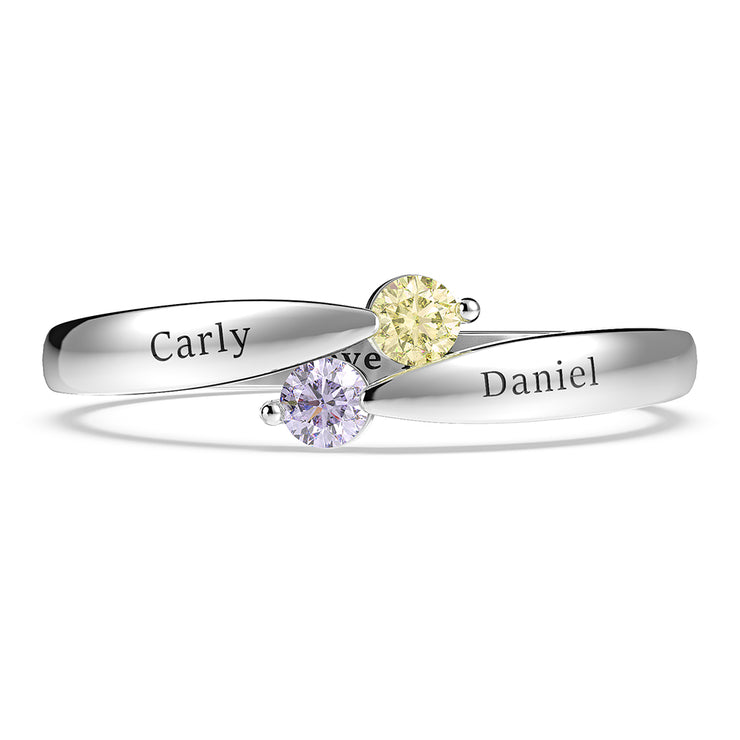 Wiley Hart Classic Double Round Stone Pink Sapphire Rings Anniversary Gifts in 14K White Gold or Sterling Silver