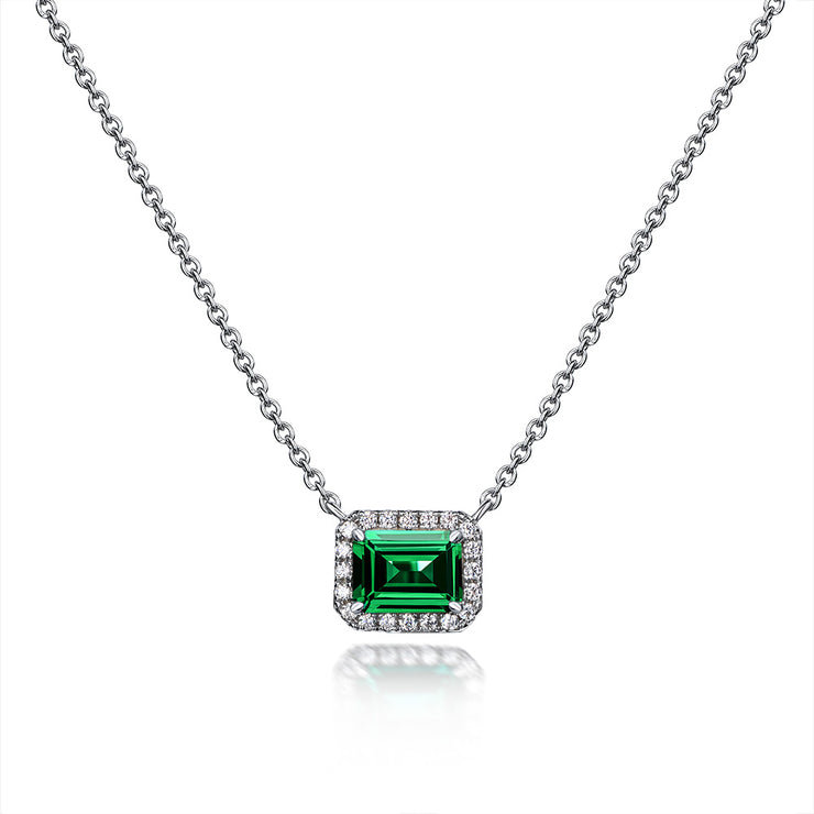 Wiley Hart Best Selling Jewelry Anniversary Cultivating Emerald Cut Pendant Necklace  with Green Sapphire Stone Gold or Silver