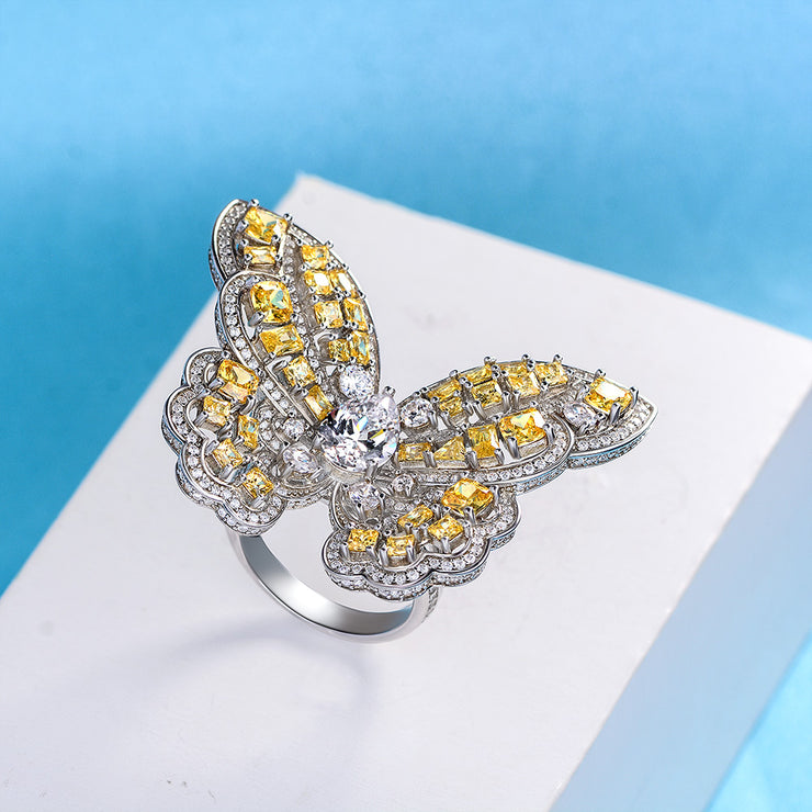 Wiley Hart Butterfly Ring Diamond Ring Yellow Sapphire Ring Gold Ring
