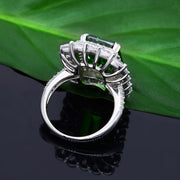 Wiley Hart Emerald Green Sapphire Engagement Ring Diamond Wedding Ring White Gold or Silver
