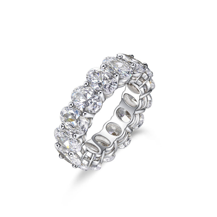 Wiley Hart Eternity Oval Cut White Sapphire Ring Band Wedding Engagement Ring White Gold or Silver