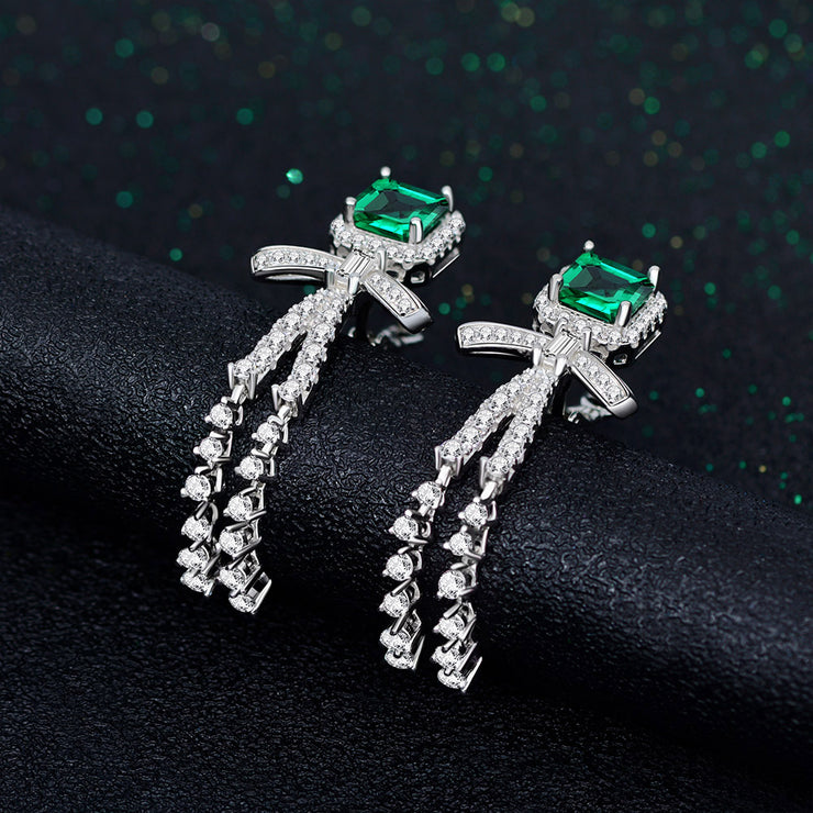 Wiley Hart Cushion Green Sapphire Dangle Earrings 1 Carats Wedding Earrings White Gold or Silver