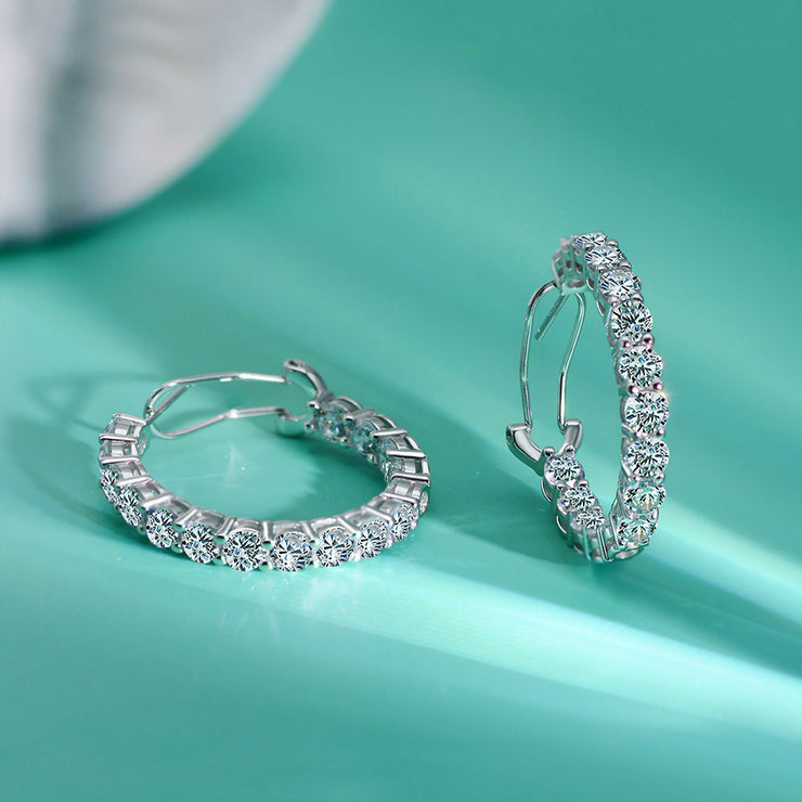 Wiley Hart Women's Classic Hoop Earrings 4mm Diamond Round Wedding Earrings White Gold or Silver