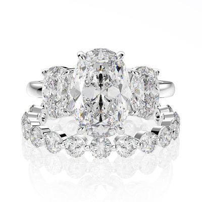 Wiley Hart 2.66 Carats White Lab-Created Sapphire Bridal Ring Set 3 Stone Oval Engagement Ring Sets White Gold or Silver