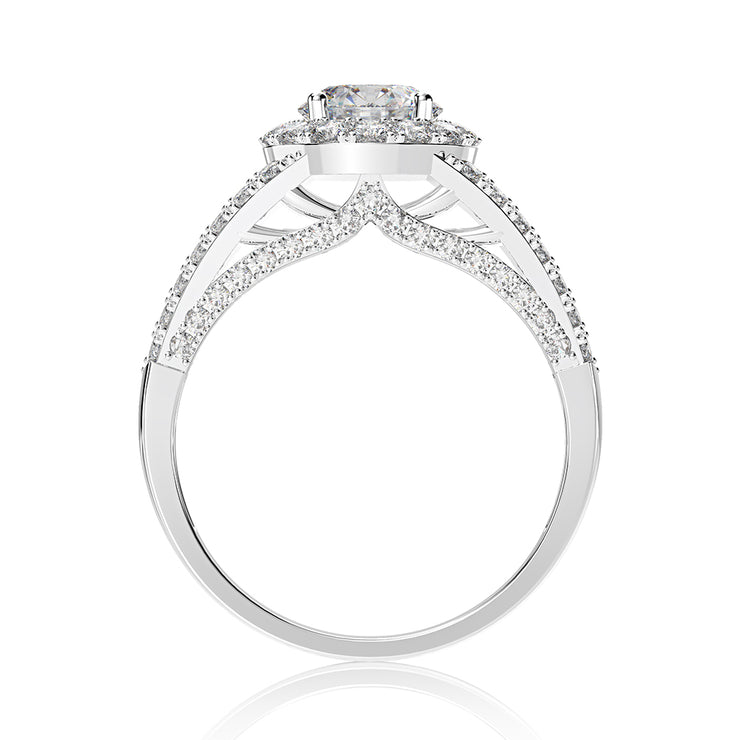 Wiley Hart Double Prong Round Cut 1 Carat White Lab Created Sapphire Engagement Ring White Gold or Silver